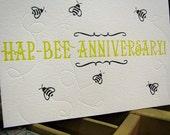Hap-Bee Anniversary Letterpress Card