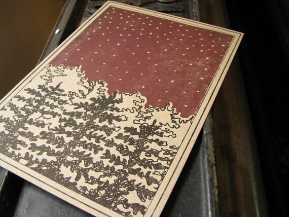 Night Sky Letterpress Postcard - Set of 5