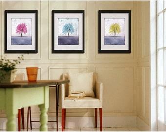 Pastel Series -- Set of Three -- 8x10 tree art print giclee print, art, tree art,print,gift,art collectibles,wall art,wall decor,wall decor