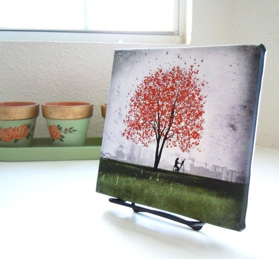 My Friend Red Tree -- 10x10 -- Gallery Wrapped Canvas