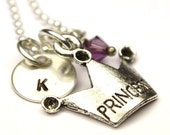 Personalized Necklace - Princess Necklace - Hand Stamped Necklace - Sterling Silver - Personalized Jewelry