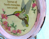 Framed Hand Embroidered Hummingbird in a Charming Pink Shabby Chic Oval Frame