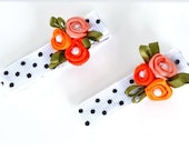 Boutique Flower Hair Clips for Girls Polka dot Coral Rosettes Pearls by Ana's Baby Couture on Etsy