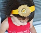 Boutique Yellow Satin Headband Yellow Green Gold Flower Handmade by Ana's Baby Couture on Etsy