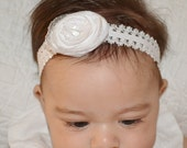 Boutique Baby Infant Newborn White Silver Flower Lace Headband Birth Announcement Baptisim Wedding by Ana's Baby Couture on Etsy