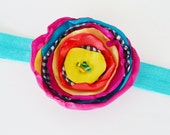 SALE Boutique Children Headband Bright Multi Color Fabric Flower Hair Clip with Thin Turquoise  Headband By Ana's Baby Couture