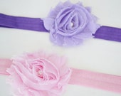 SALE Baby Flower Headband Shabby Chic Infant Baby Gift Set Pink Purple By Ana's Baby Couture on Etsy