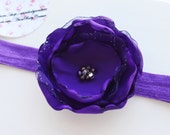 Boutique Flower Headband Purple Sparkle Baby Infant  Photo Prop Birth Announcement Birthday Handmade by Ana's Baby Couture on Etsy