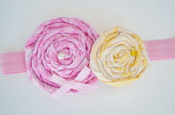 Baby Couture Pink Yellow Rolled Rosette Flower Headband Baby Toddler Women All Sizes By Ana's Baby Couture on Etsy