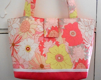 Coral Floral Tote