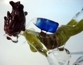 Glass Diver Sculpture, Shark Dive, Female Scuba Chick, Lampwork Art, Handmade, Home Decor