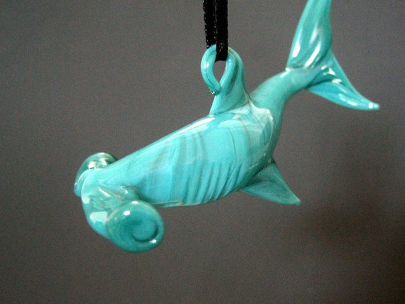 Glass Hammer Head Shark Suncatcher Teal Lampwork Hanging Art Sculpture Ornament