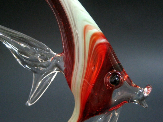 Glass Fish Ornament Ruby Red, Small Hanging Sealife Art