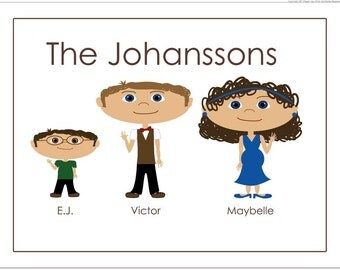 Family Note Cards, Custom Note Cards, Personalized Note Cards, Family Portrait Custom, Cartoon Family Portrait, Personalized Stationary