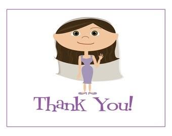 Bridal Thank You Cards, Bridal Shower Thank You Cards, Thank You Notes, Custom Thank You, Personalized Thank You, Cartoon Bride