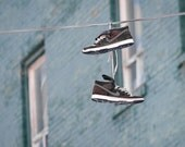 Photo of Sneakers Draped Over Wire Entitled Ghetto's Garland - Fine Art Photo - 8 X 12