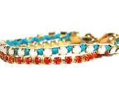 Aqua and Coral Rhinestone Bracelet Layering Bracelet