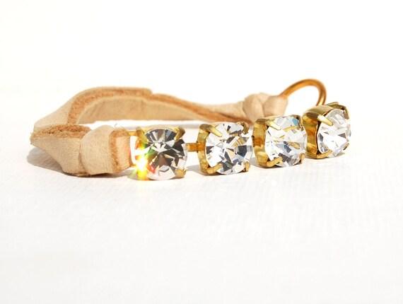 Leather Bracelet  Large Rhinestone Bracelet with tan leather  Rhinestone and Leather Bracelet