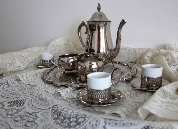 Vintage Goodinger Silver Art Tea Set with serving tray
