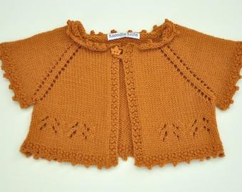 Baby Sweater, Toddler Sweater, Baby Shrug, Autumn, Maple Leaf, Orange, Girl's Sweater