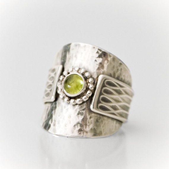 Izadora - recycled silver spoon peridot ring