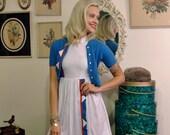 1950s Dress / 50s Vintage Junior / Sailor Girl Dress & Sweater (XSmall)