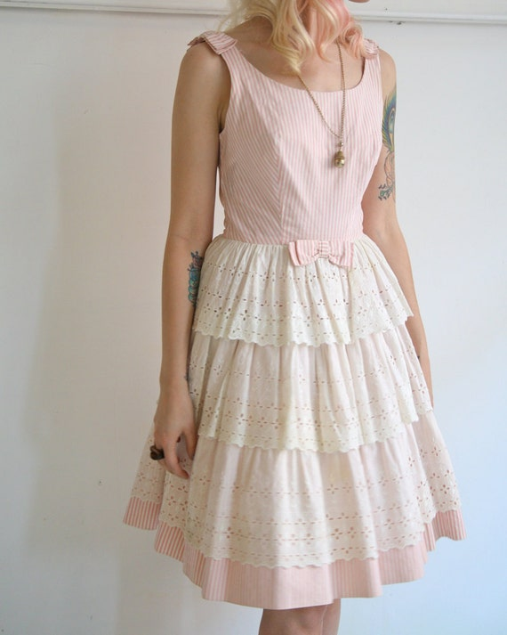1950s Dress // Pink Cotton Candy // Vintage 1950s Dress // Small