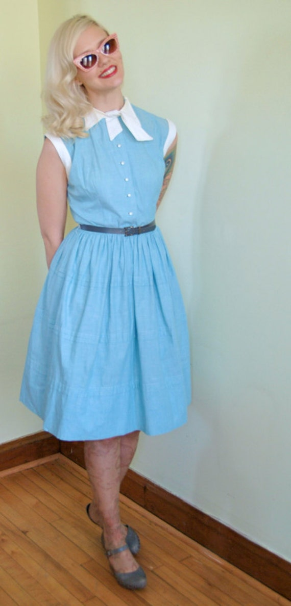 1950s Dress // Clear Blue Sky // Vintage Day Dress // Small