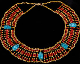 Egyptian  bedead  Queen Cleopatra Necklace 5 Scarab