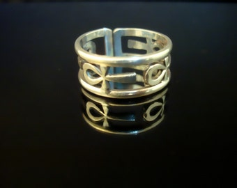 Solid Silver Egyptian Open Work Ankh Ring