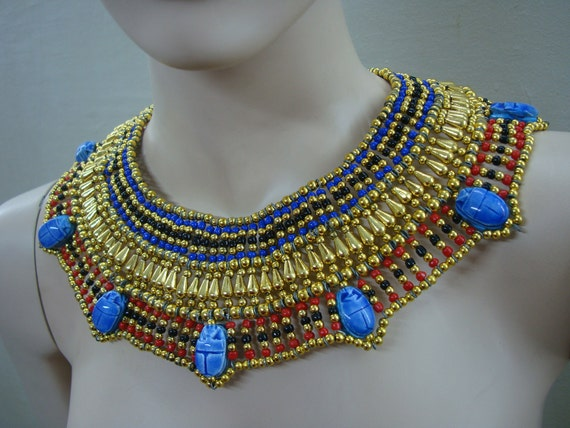 lrg Egyptian  bedead  Queen Cleopatra Necklace 7 Scarab