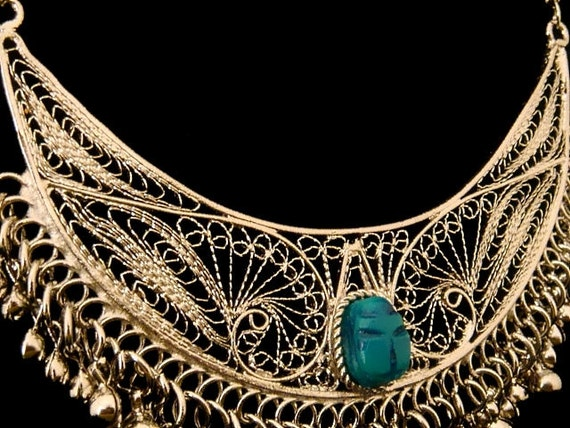 Beautiful Egyptian Filagree Openwork Scarab Necklace