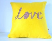 Eco Spring Yellow 'Love' Cushion - Red Nautical Stripes