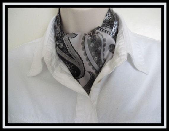 New Ascot Tie Cravat.   Gray Paisley satin. Formal or Classy Casual.