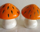 Vintage Ceramic Orange and White Mushroom Salt and Pepper Shakers