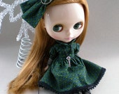 Dress and Oversized Bow for Blythe - Geometric Tile Print in Green