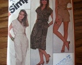 Vintage 1981 Simplicity Misses Front Wrap Top, Pull On Pants, Shorts and Skirt Sewing Pattern