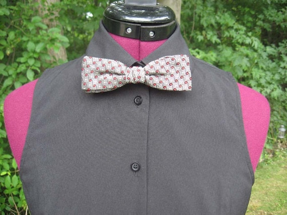 Vintage 1950s or 1960s Grey Square End Clip-On Bow Tie with Red and White Dots