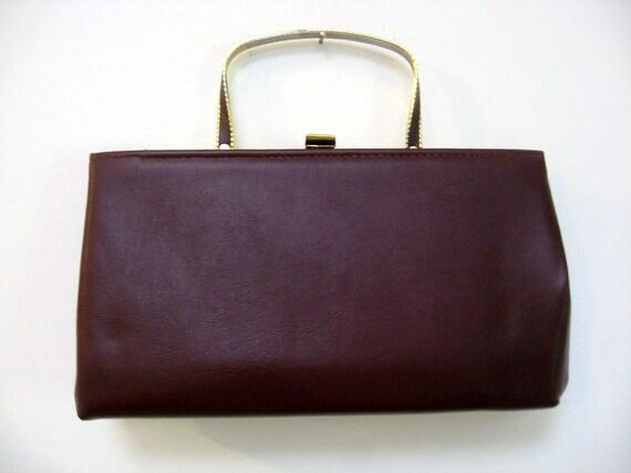 Amazing  Vintage Ande 1960s Maroon Square Handbag Clutch with Metal Handle.