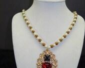 Princess Elizabeth Exact Portrait Replica Tudor Pendant on Pearl Necklace