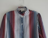 SALE 1980s Vintage Koret blue and maroon striped high collar blouse