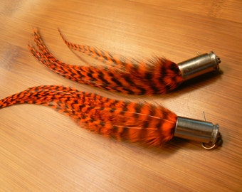 Red Hackle Feather Earrings