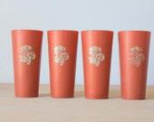 Vintage Mushroom Plastic Tumblers/Cups - Orange