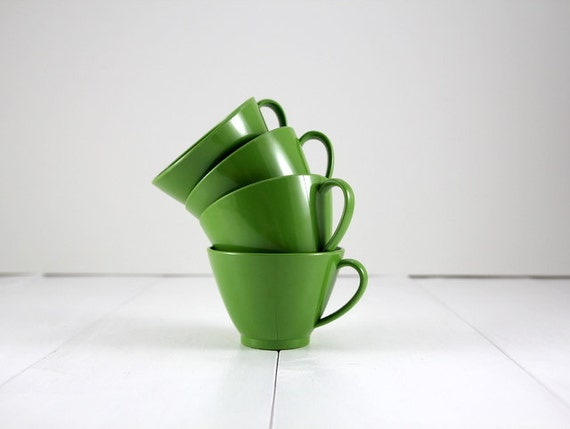 Vintage Set of Green Plastic Mugs