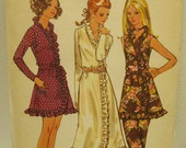 Fabulous vintage 1960's Butterick pattern 5860 for MOD wrap dress with bias ruffle and pants Sz 14 FF Uncut