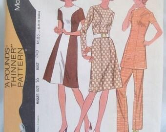 Vintage 70's McCalls Dress Tunic Pants Pattern 3112 Uncut Sz 16