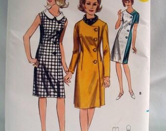 Vintage 60s BUTTERICK Pattern 3740 Coat Dress UNCUT SZ 12