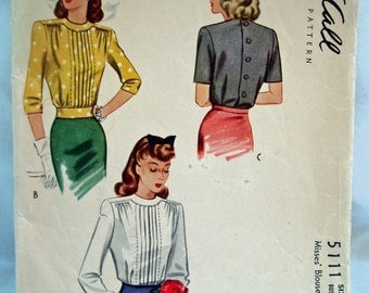 Vintage 40's McCalls Pattern 5111 for pleated front blouse Size 14