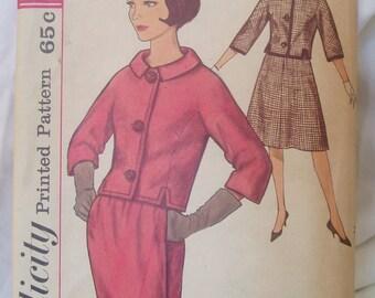 Vintage 60s Simplicity suit pattern 4093 Jackie O style Sz 13