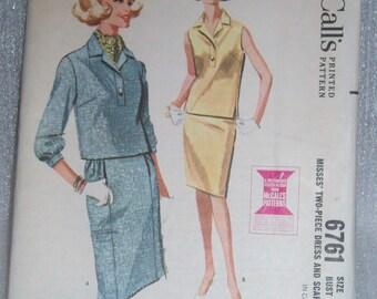 Vinage 60s McCalls Two piece dress and scarf pattern 6761 Sz 10 Uncut